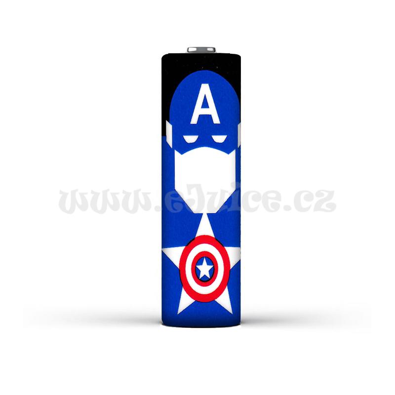 Smršťovací folie pro baterie 18650 s potiskem (Captain America)