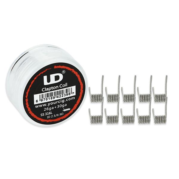 Clapton SS316L - předmotané spirálky 26GA+30GA 0,5ohm (10ks) - UD