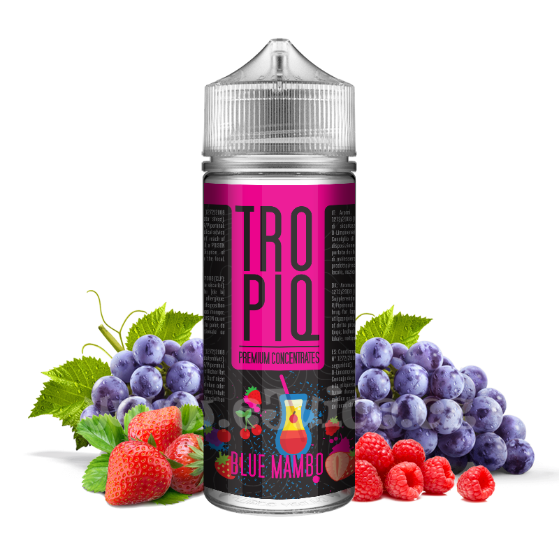 Příchuť Tropiq Shake & Vape: Blue Mambo (Jahody, maliny a hroznové víno) 15ml