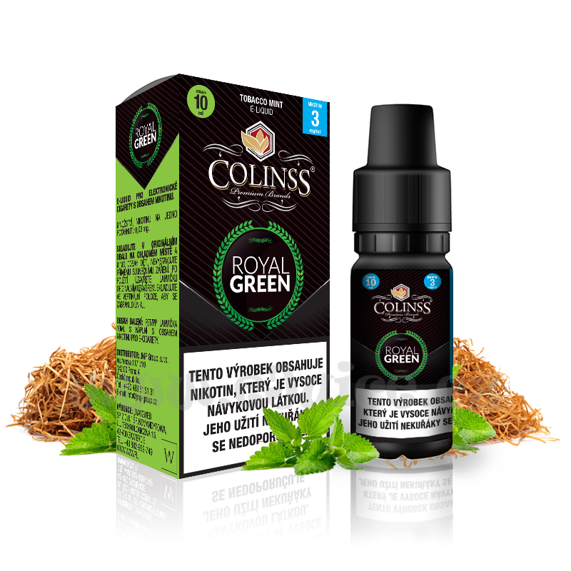 E-liquid Colinss 10ml / 18mg: Royal Green (Tabák s mátou)