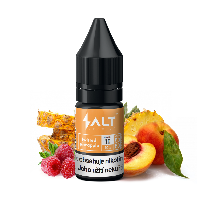 E-liquid Salt Brew Co 10ml / 10mg: Twisted Pineapple (Ananas, broskev a malina)