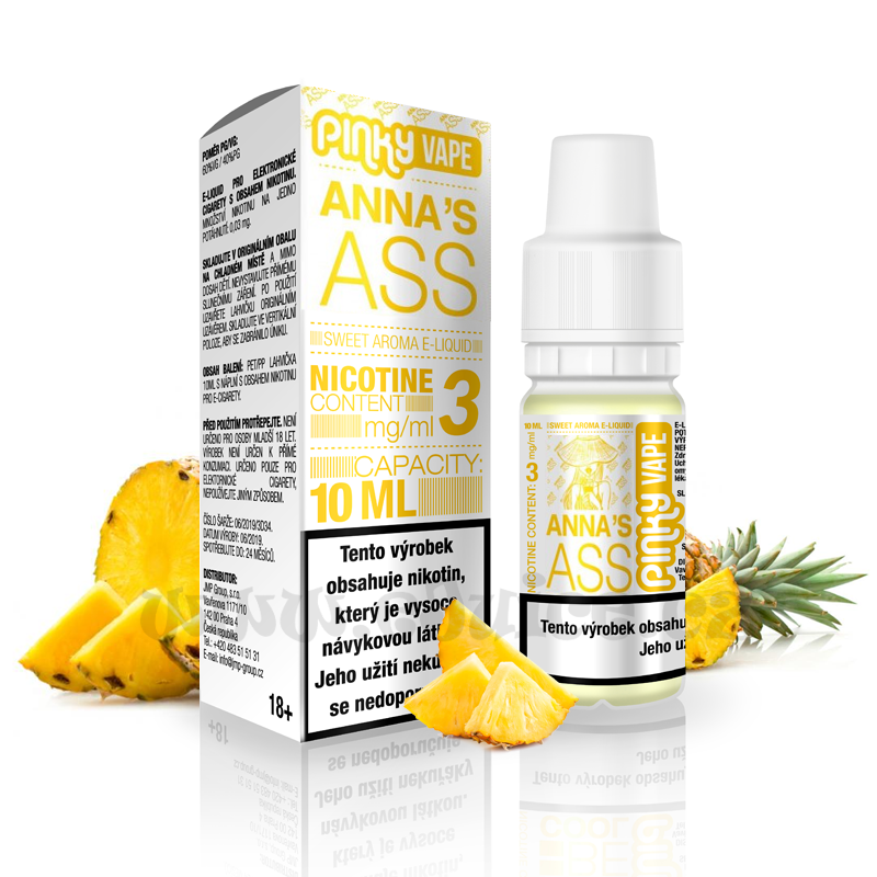 E-liquid Pinky Vape 10ml / 12mg: Anna's Ass (Ananas)