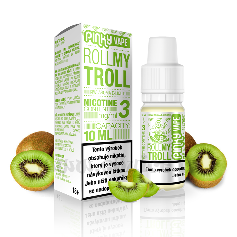 E-liquid Pinky Vape 10ml / 12mg: Roll My Troll (Kiwi mix)