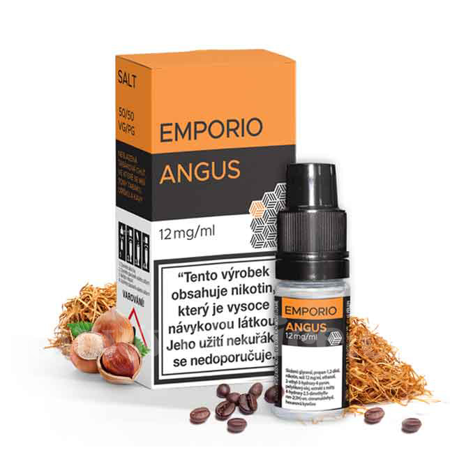 E-liquid Emporio Salt 10ml / 12mg: Angus (Tabák s oříškem a kávou)
