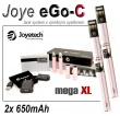Elektronická cigareta: Joyetech eGo-C - MEGA XL (2x 650mAh) (Růž