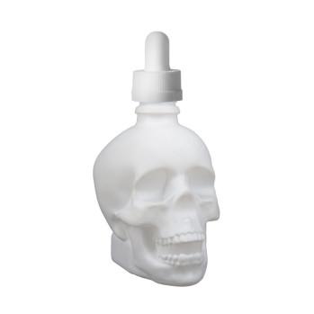 Skleněná lahvička ve tvaru lebky 30ml (Matná bílá)